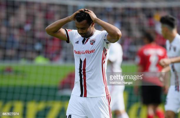 Marvin Matip of Ingolstadt shows his disappointment during the Bundesliga match between SC Freiburg and FC Ingolstadt 04 at SchwarzwaldStadion on May...