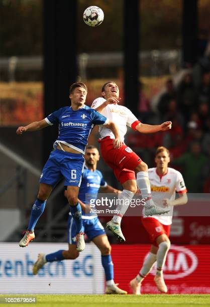 Marvin Mehlem of SV Darmstadt 98 heads the ball during the Second Bundesliga match between SSV Jahn Regensburg and SV Darmstadt 98 at Continental...