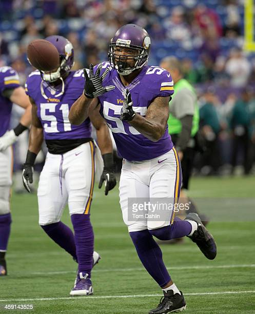 Marvin Mitchell of the Minnesota Vikings warms up prior to an NFL game against the Philadelphia Eagles at Mall of America Field on December 15 2013...