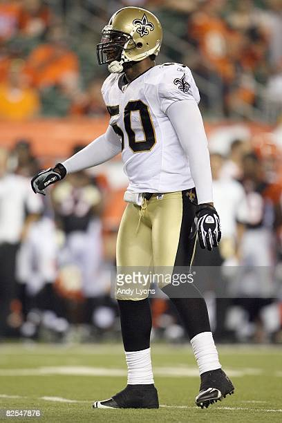 Marvin Mitchell of the New Orleans Saints moves on the field during the NFL game against the Cincinnati Bengals at Paul Brown Stadium on August 23...