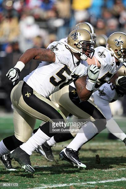 Marvin Mitchell of the New Orleans Saints rushes against the Carolina Panthers at Bank of America Stadium on January 3 2010 in Charlotte North...