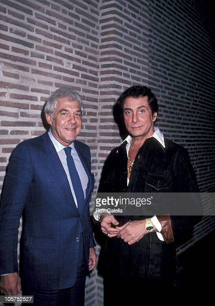 Marvin Mitchelson and Bob Guccione during Party for Penthouse's 19811982 Pet of the Year at Bob Guccione's Manhattan Townhouse in New York City New...
