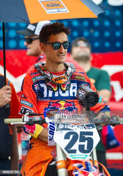 Marvin Musquin at the starting line during the Lucas Oil Pro Motorcross Tennessee National race at Muddy Creek Raceway in Blountville TN