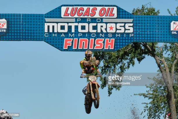 Marvin Musquin of Team Red Bull KTM Factory Racing celebrates his victory by crossing the finish line of the 450 Class Moto race during the 2018 Red...