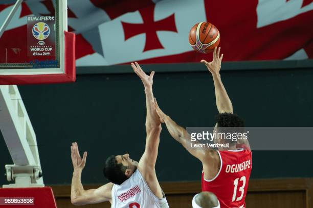 Marvin Ogunsipe of Austria shoots the ball during the FIBA Basketball World Cup Qualifier match between Georgia and Austria at Tbilisi Sports Palace...