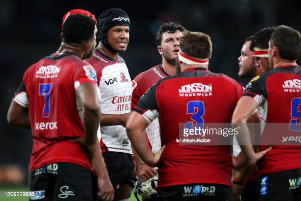 Marvin Orie of the Lions speaks to his team during a break in play the round five Super Rugby match between the Waratahs and the Lions at Bankwest...