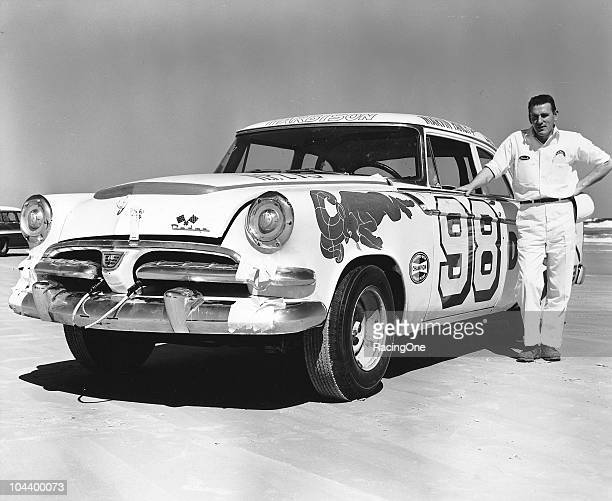 Marvin Panch poses with the Tom Harbisonowned Dodge he drove in the NASCAR Cup race on the Daytona BeachRoad Course Panch dropped out early and...