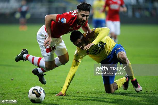 Marvin Peersman of SC Cambuur battles for the ball with Alireza Jahanbakhsh of AZ Alkmaar during the Dutch KNVB Cup Semifinal match between AZ...