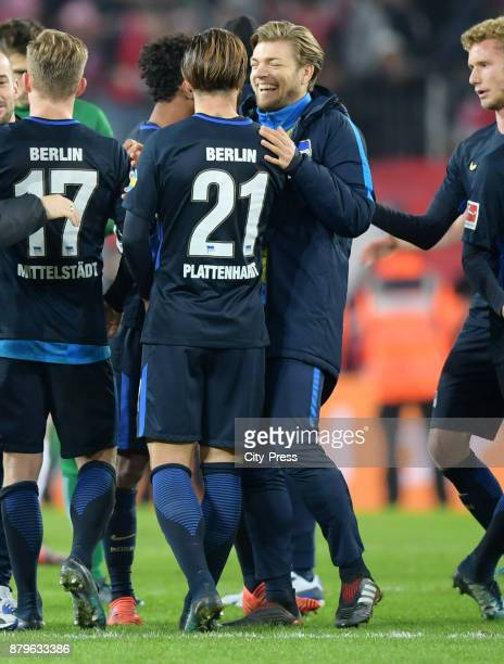 Marvin Plattenhardt and Alexander Esswein of Hertha BSC after the game between 1 FC Koeln and Hertha BSC on November 26 2017 in Koeln Germany