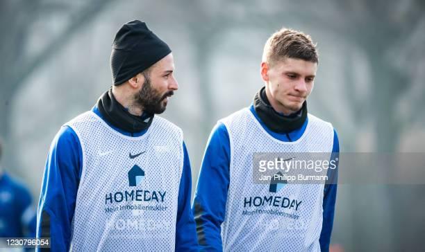 Marvin Plattenhardt and Marton Dardai of Hertha BSC during the training session at Schenckendorffplatz on January 26, 2021 in Berlin, Germany.