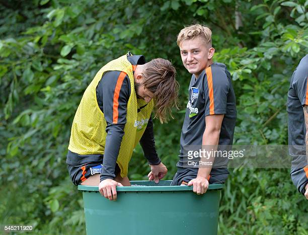 Marvin Plattenhardt and Sinan Kurt during the training of Hertha BSC on july 6 2016 in Bad Saarow Germany