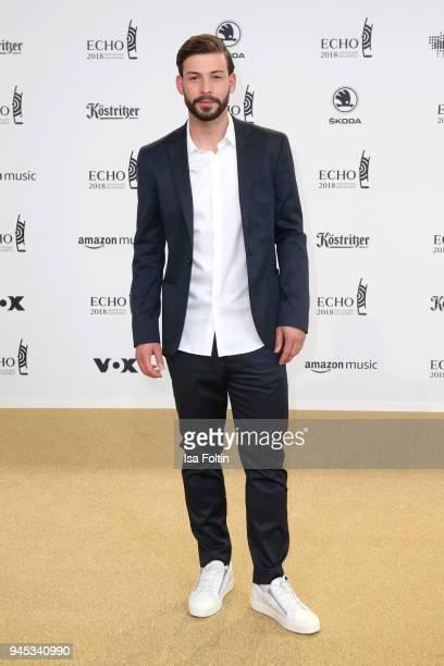 Marvin Plattenhardt arrives for the Echo Award at Messe Berlin on April 12 2018 in Berlin Germany