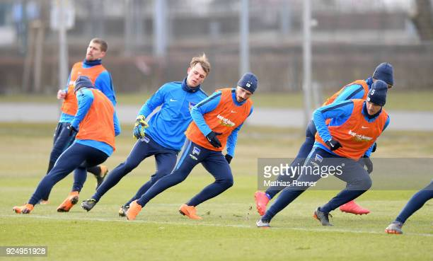 Marvin Plattenhardt Leon Brueggemeier Mathew Leckie and Niklas Stark of Hertha BSC during a training session at Schenkendorfplatz on February 27 2018...