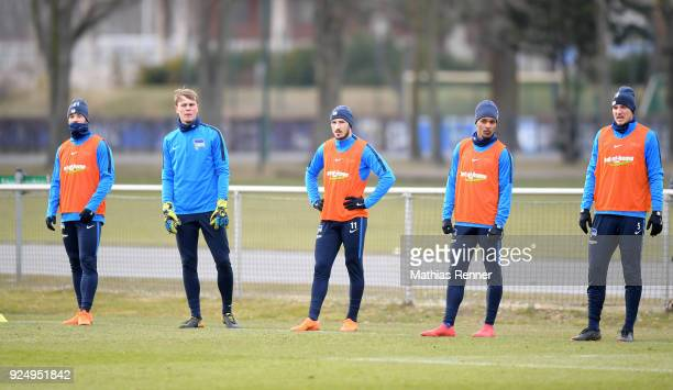 Marvin Plattenhardt Leon Brueggemeier Mathew Leckie Valentino Lazaro and Niklas Stark of Hertha BSC during a training session at Schenkendorfplatz on...