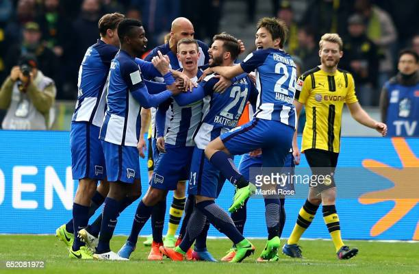 Marvin Plattenhardt of Berlin celebrates after scoring his teams second goal during the Bundesliga match between Hertha BSC and Borussia Dortmund at...