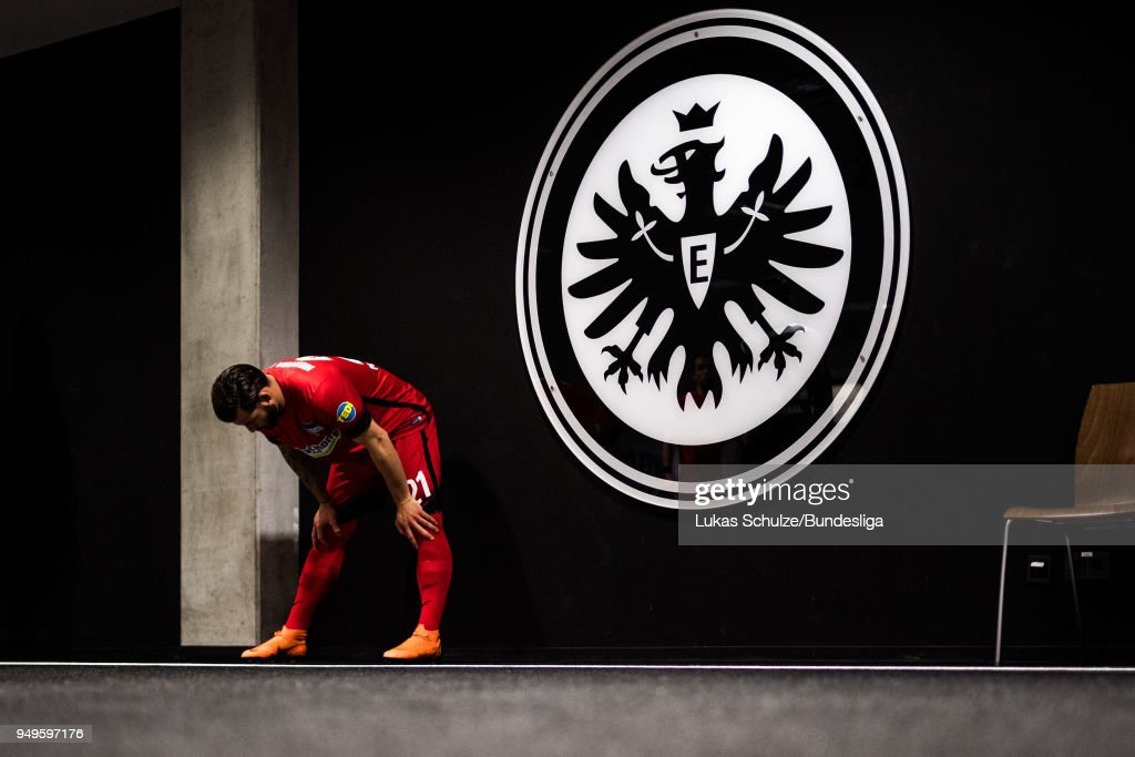 Marvin Plattenhardt of Berlin is focused in the players tunnel prior to the Bundesliga match between Eintracht Frankfurt and Hertha BSC at Commerzbank-Arena on April 21, 2018 in Frankfurt am Main, Germany.