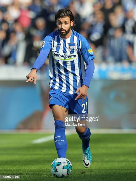 Marvin Plattenhardt of Berlin runs with the ball during the Bundesliga match between Hertha BSC and SV Werder Bremen at Olympiastadion on September...