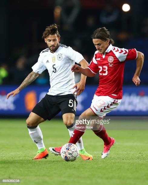 Marvin Plattenhardt of Germany and Lasse Vibe of Denmark battle for the ball during the international friendly match between Denmark v Germany on...