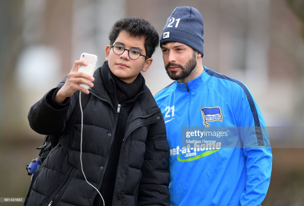 Marvin Plattenhardt of Hertha BSC before the training session at the Schenkendorfplatz on march 13, 2018 in Berlin, Germany.