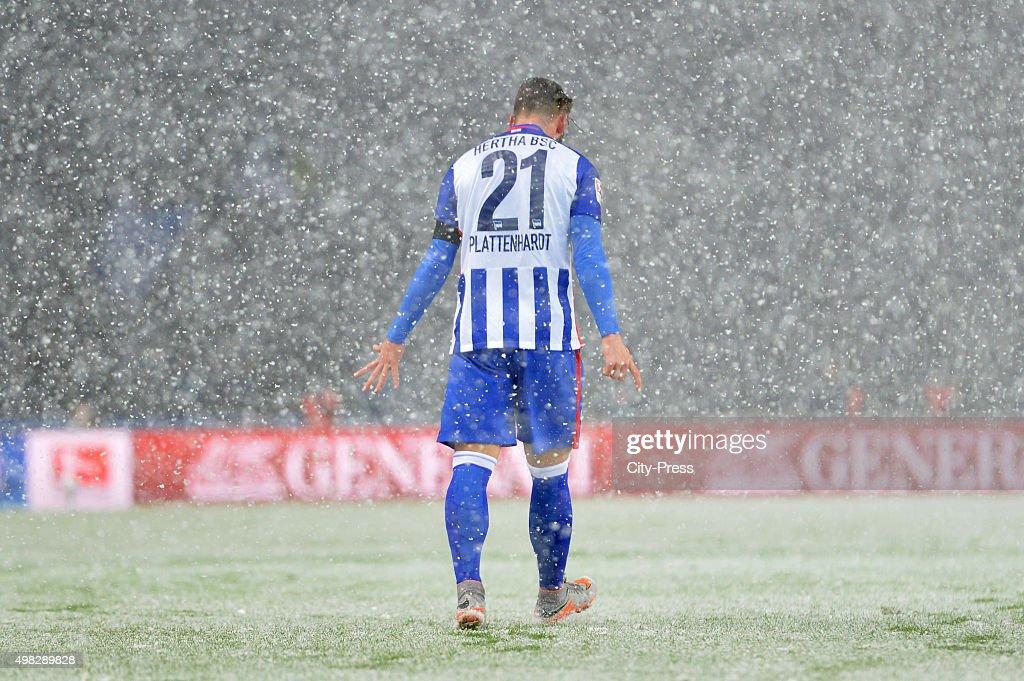 Marvin Plattenhardt of Hertha BSC celebrates after scoring the 1:0 during the Bundesliga match between Hertha BSC and TSG Hoffenheim on November 22, 2015 in Berlin, Germany.