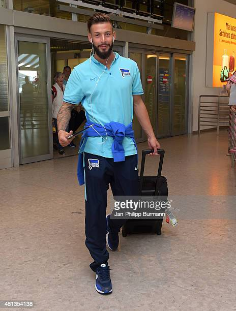 Marvin Plattenhardt of Hertha BSC during their arrival at Salzburg Airport ahead of the training camp in Schladming on July 19 2015 in Salzburg...