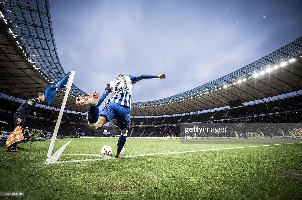 Marvin Plattenhardt of Hertha BSC kicks from the corner during the Bundesliga match between Hertha BSC and TSG Hoffenheim on November 22, 2015 in Berlin, Germany.
