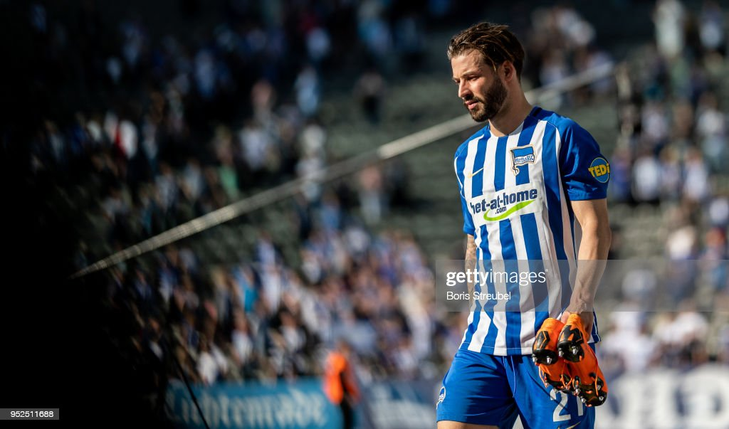 Marvin Plattenhardt of Hertha BSC looks on after the Bundesliga match between Hertha BSC and FC Augsburg at Olympiastadion on April 28, 2018 in Berlin, Germany.