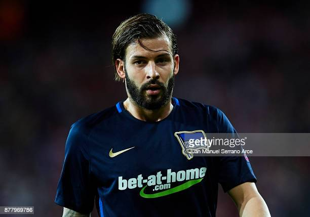 Marvin Plattenhardt of Hertha BSC reacts during the UEFA Europa League group J match between Athletic Bilbao and Hertha BSC at San Mames Stadium on...