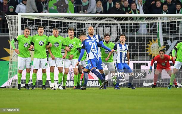 Marvin Plattenhardt of Hertha BSC scores the 11 during the game between VfL Wolfsburg and Hertha BSC on december 3 2016 in Wolfsburg Germany