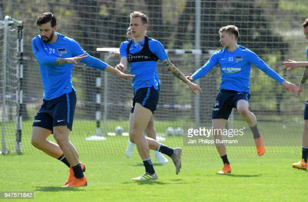 Marvin Plattenhardt Ondrej Duda and Mitchell Weiser of Hertha BSC during the training at the Schenkendorfplatz on april 17 2018 in Berlin Germany