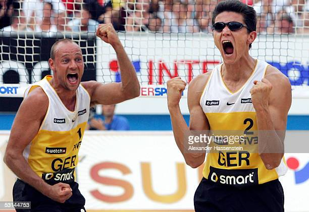 Marvin Polte and Thorsten Schoen of Germany celebrates winning a point during the match between Marvin Polte and Thorsten Schoen of Germany and...