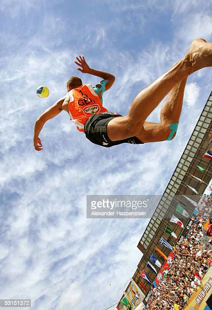 Marvin Polte of Germany in action during the Bronze Medal Match between Julius Brink and Kjell Schneider of Germany against Marvin Polte and Thorsten...
