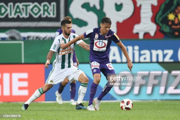 Marvin Potzmann of Rapid and Urso Matic of Austria Wien during the tipico Bundesliga match between Rapid Wien and Austria Wien at Allianz Stadion on...