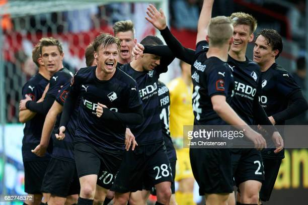 Marvin Pourié of Randers FC and teammates celebrates after his 02 goal during the Danish Alka Superliga match between AaB Aalborg and Randers FC at...