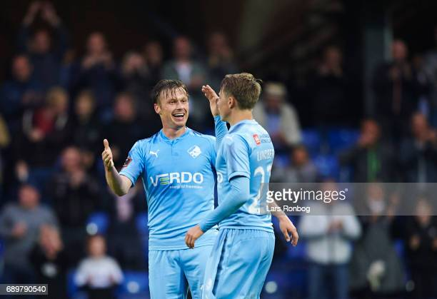 Marvin Pourie and Viktor Lundberg of Randers FC celebrate after scoring their first goal during the Danish Alka Superliga match between Randers FC...