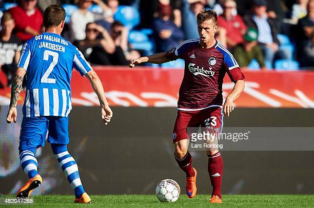 Marvin Pourie of FC Copenhagen controls the ball during the Danish Alka Superliga match between Esbjerg fB and FC Copenhagen at Blue Water Arena on...