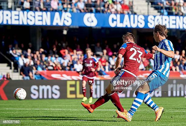 Marvin Pourie of FC Copenhagen scores the 10 goal during the Danish Alka Superliga match between Esbjerg fB and FC Copenhagen at Blue Water Arena on...