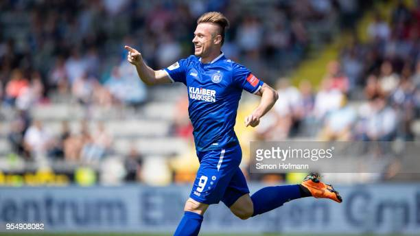 Marvin Pourie of Karlsruhe celebrates his team's first goal during the 3 Liga match between VfR Aalen and Karlsruher SC at Ostalb Arena on May 5 2018...