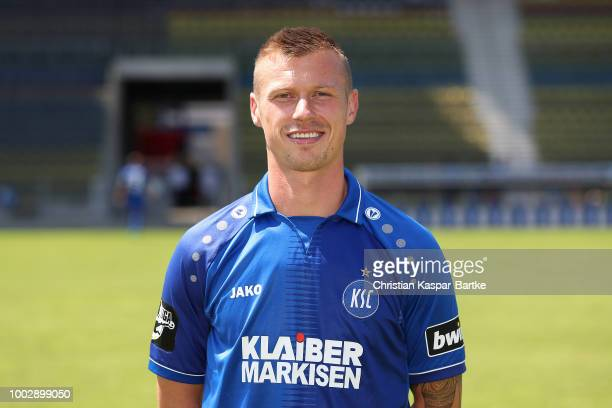 Marvin Pourie of Karlsruhe poses during the team presentation on July 20 2018 in Karlsruhe Germany