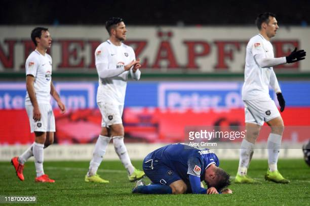 Marvin Pourie of Karlsruhe reacts after the Second Bundesliga match between Karlsruher SC and FC Erzgebirge Aue at Wildparkstadion on November 11,...