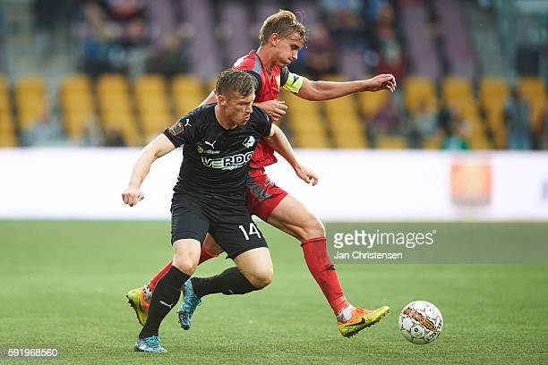 Marvin Pourie of Randers FC and Andreas Maxso of FC Nordsjalland compete for the ball during the Danish Alka Superliga match between FC Nordsjalland...