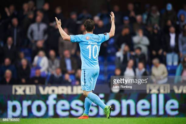 Marvin Pourie of Randers FC celebrates after scoring their first goal during the Danish Alka Superliga match between Randers FC and OB Odense at...