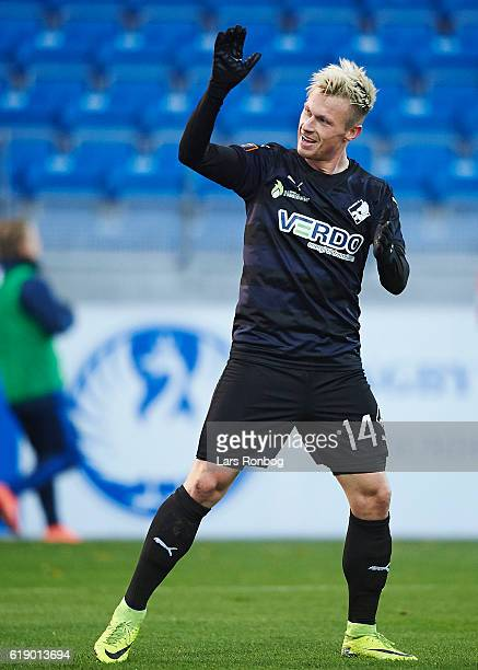 Marvin Pourie of Randers FC celebrates after scoring their second goal during the Danish Alka Superliga match between Lyngby BK and Randers FC at...