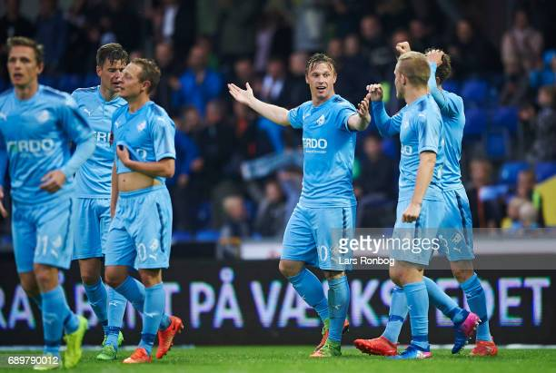 Marvin Pourie of Randers FC celebrates after scoring their second goal during the Danish Alka Superliga match between Randers FC and OB Odense at...