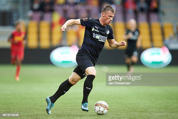 Marvin Pourie of Randers FC controls the ball during the Danish Alka Superliga match between FC Nordsjalland and Randers FC at Right to Dream Park on...