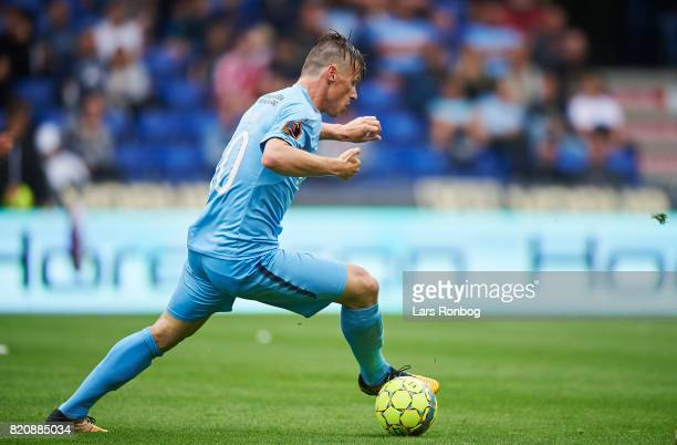 Marvin Pourie of Randers FC controls the ball during the Danish Alka Superliga match between Randers FC and FC Copenhagen at BioNutria Park on July...