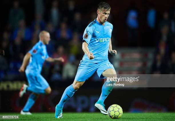 Marvin Pourie of Randers FC controls the ball during the Danish Alka Superliga match between Randers FC and Silkeborg IF at BioNutria Park on August...
