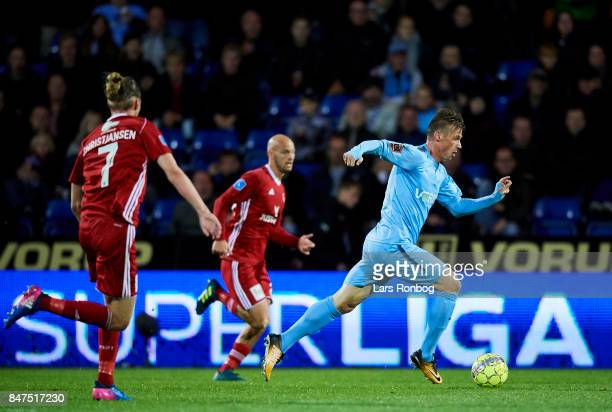 Marvin Pourie of Randers FC controls the ball during the Danish Alka Superliga match between Randers FC and Lyngby BK at BioNutria Park on September...