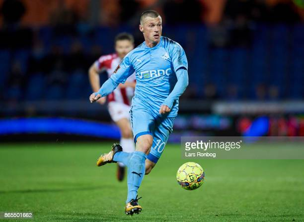 Marvin Pourie of Randers FC controls the ball during the Danish Alka Superliga match between Randers FC and AaB Aalborg at BioNutria Park on October...
