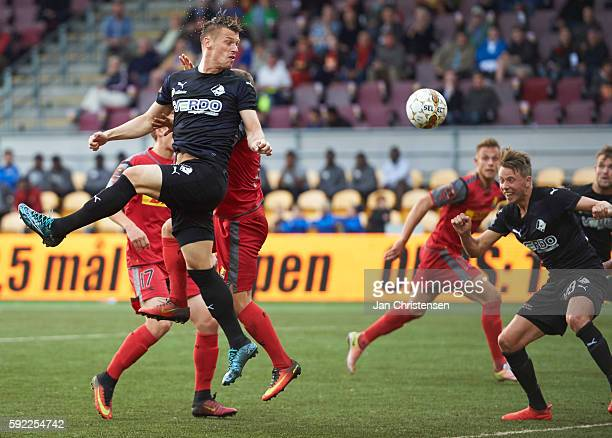 Marvin Pourie of Randers FC heading the ball during the Danish Alka Superliga match between FC Nordsjalland and Randers FC at Right to Dream Park on...